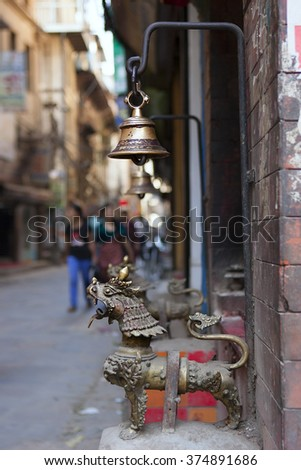 Temple Bells in KATHMANDU, NEPAL. Beautiful old antique eastern Bells close-up - stock photo