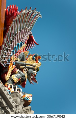 Temple Details, in Ubud, Bali, Indonesia - stock photo