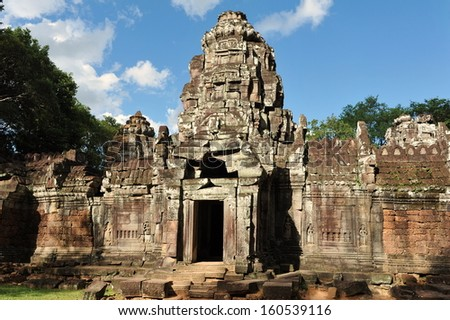 Temple Entrance at the Historic Angkor Wat Complex in Cambodia - stock photo