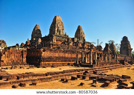 temple in area angkor wat - stock photo