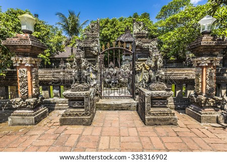 Temple in Bali, Indonesia on a beautiful sunny day - stock photo