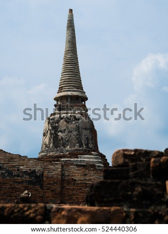 Temple in thailand. Wat Mahathat at Ayutthaya. The old culture of history of old building.