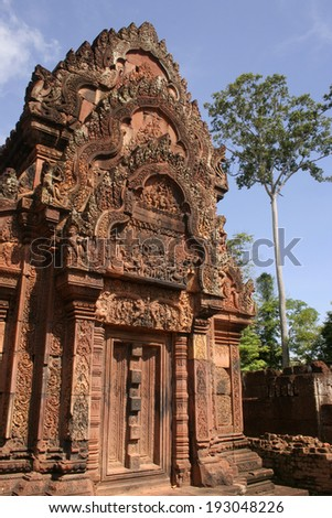 Temple in the Angkor Wat complex in Cambodia in South East Asia - stock photo