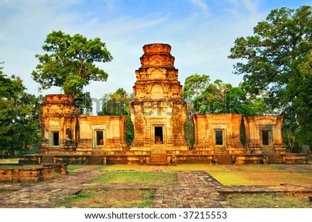 Temple in the jungle. Angkor. Cambodia - stock photo