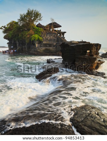 Temple in the sea( Pura tanah lot), Bali, Indonesia - stock photo