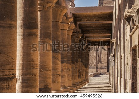 Temple Isis Philae. The temple complex on the island of Philae in Aswan, Egypt
