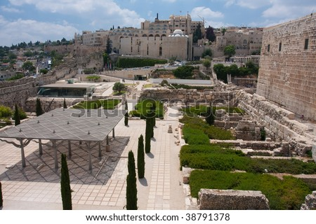 Temple Mount Jersualem, Davidson Center, Reconstructed site - stock photo