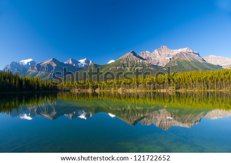 Temple Mountain Reflection on Herbert Lake, Banff, Canadian Rockies
