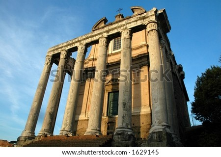 Temple of Antoninus and Faustina at Rome - stock photo