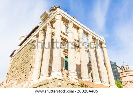 Temple of Antoninus and Faustina in the Roman Forum in Rome, Italy - stock photo