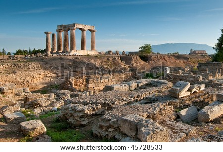 Temple of Apollo amidst the ruins of Ancient Corinth, Greece - stock photo