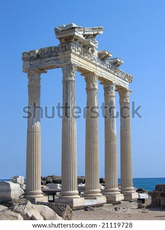 Temple of Apollo in Side Turkey - stock photo