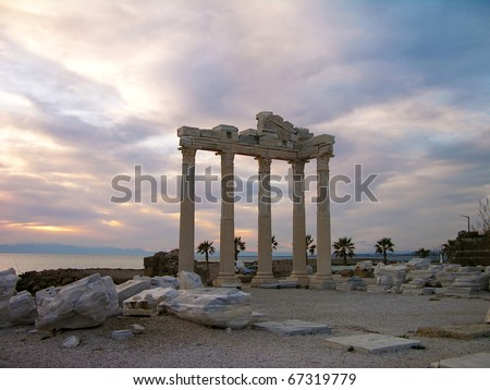 Temple of Apollo in the evening, Side, Turkey - stock photo