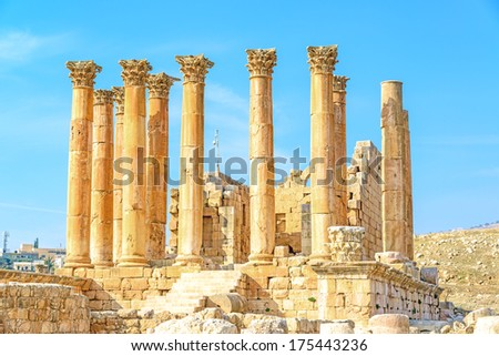 Temple of Artemis in the ancient city of Gerasa, preset-day Jerash, Jordan. It is located about 48 km north of the capital Amman. - stock photo