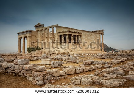Temple of Athena at the Acropolis in Athens, Greece - stock photo