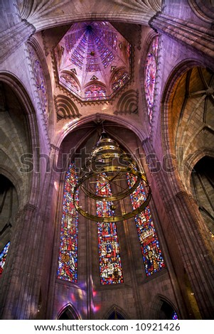 Temple of Atonement, Templo Expiatorio, Guadalajara, Mexico.  Church Dome and Stained Glass Windows Inside Overview - stock photo