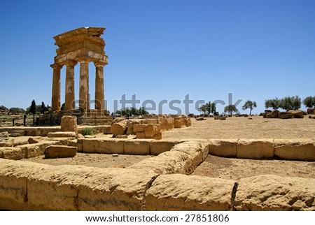 Temple of Castor and Pollux (temple of Dioscuri) in Agrigento's valley of temple - stock photo
