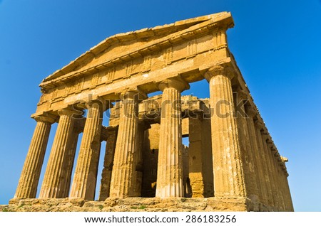 Temple of Concordia at Agrigento Valley of the Temple, Sicily, Italy - stock photo
