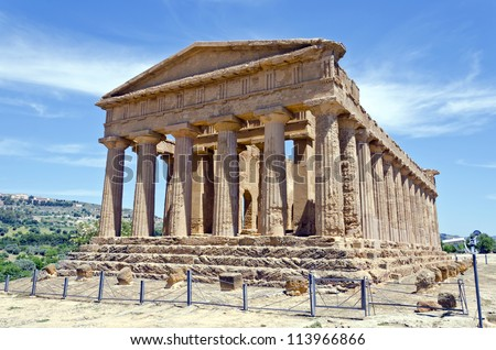 Temple of Concordia - Valley of the Temples in Agrigento on Sicily, Italy - stock photo