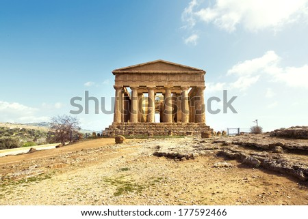 Temple of Concordia. Valley of the Temples in Agrigento on Sicily, Italy