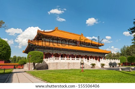 Temple of Confucius,located in Harbin City, China. It was originally built in 1926 and completed in Nov 1929. The temple is in brick-wooden structure with Chinese traditional architectural style. - stock photo