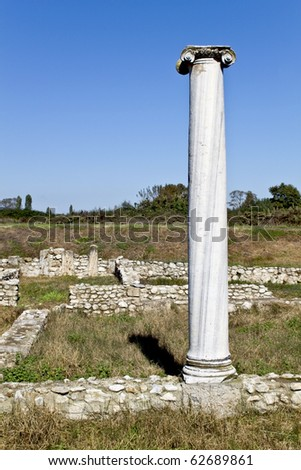 Temple of Dionysus ruins found at Dion in Greece - stock photo