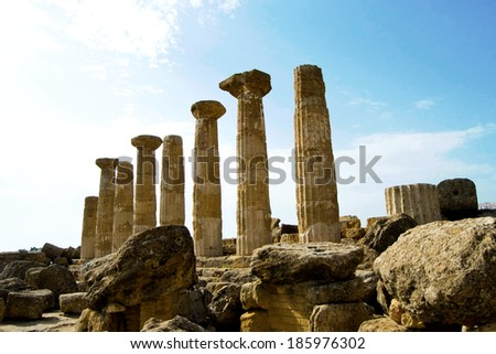 Temple of Eracle - Valley of the Temples, Agrigento - stock photo