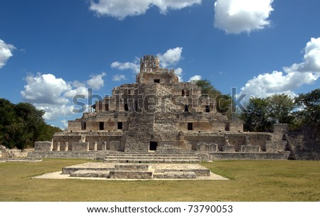 Temple of Five Floors, Edzna Mayan ruins in the southern Yucatan, Campeche, Mexico.  This site with its Ri­o Bec architecture featuring a crowned  pyramid is missed by most tourists. - stock photo