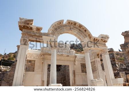 Temple of Hadrian; Ancient city of Ephesus; Turkey - stock photo