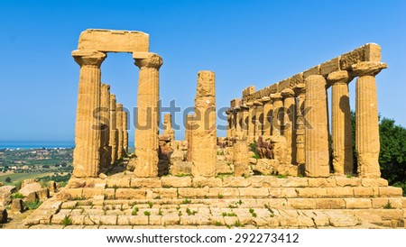 Temple of Hera, Juno, Lacinia at Agrigento Valley of the Temple, Sicily, Italy - stock photo