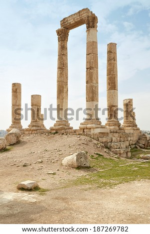 Temple of Hercules, archaeological site, on the Amman citadel, Jordan