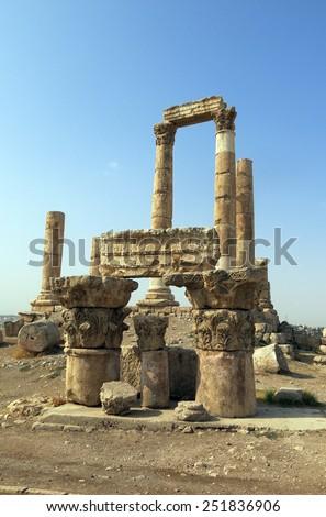 Temple of Hercules on the Citadel hill in Amman in Jordan - stock photo