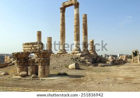 Temple of Hercules on the Citadel Mountain in Amman in Jordan - stock photo
