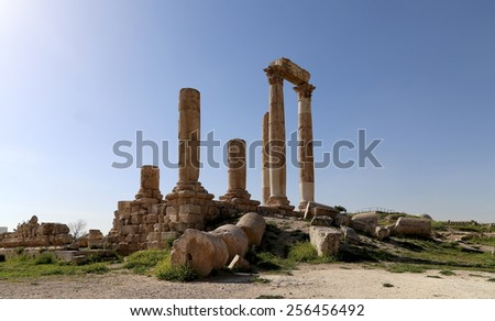 Temple of Hercules, Roman Corinthian columns at Citadel Hill, Amman, Jordan - stock photo