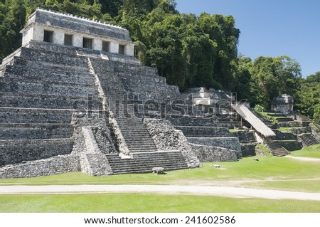 Temple of Inscriptions, ancient Mayan city of Palenque (Mexico) - stock photo