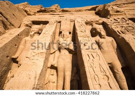Temple of Nefertari, Abu Simbel, Egypt - stock photo