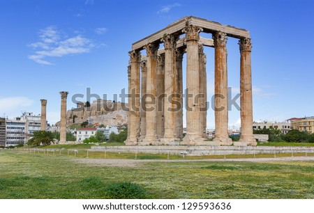 Temple of Olympian Zeus, Acropolis in background, Athens, Greece - stock photo