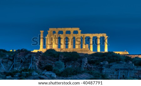 Temple of Poseidon at Cape Sounion, Greece at night - stock photo