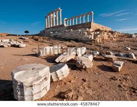 Temple of Poseidon, Cap Sounion, Greece - stock photo