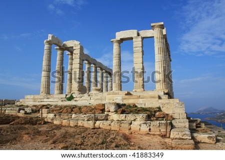 Temple of Poseidon, near Athens, Greece. - stock photo