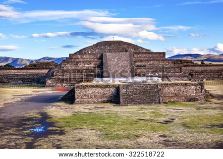 Temple of Quetzalcoatl  Pyramid Teotihuacan, Mexico City Mexico - stock photo