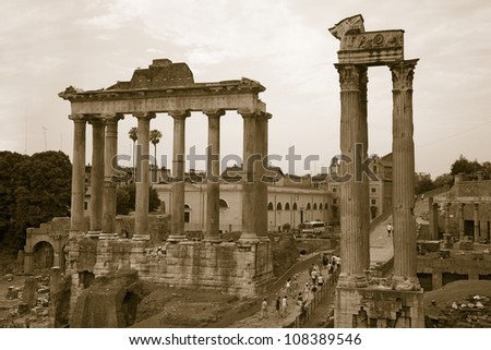 Temple of Saturn and Temple of Vespasian at Roman Forum, Rome, Italy - stock photo