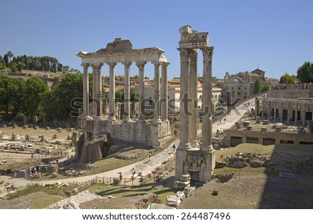 Temple of Saturn and Temple of Vespasian at Roman Forum seen from the Capitol, ancient Roman ruins, Rome, Italy, Europe - stock photo