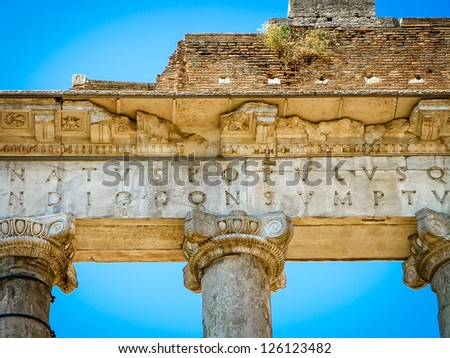 Temple of Saturn architecture detail, Roman Forum, Rome, Italy - stock photo