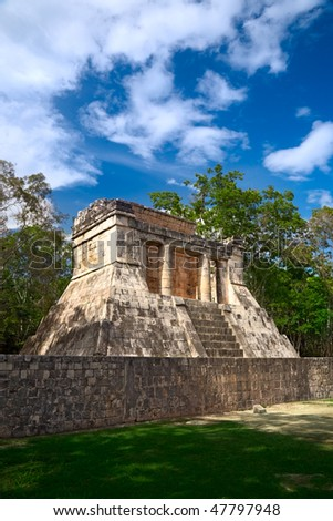 "Temple of the Bearded Man at the end of Great Ball Court for playing ""pok-ta-pok"" near Chichen Itza pyramid, Mexico - stock photo"