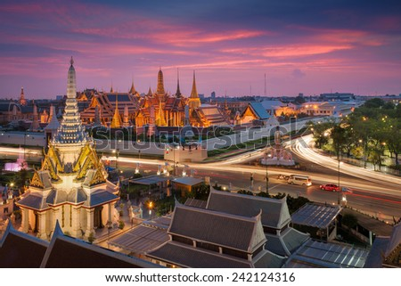 Temple of the Emerald Buddha in Bangkok, Thailand  - stock photo