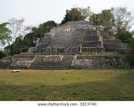 Temple of the Jaguar. Lamanai. Belize - stock photo