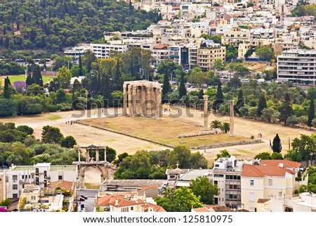 Temple of the Olympian Zeus at Athens, Greece, view from Acropolis
