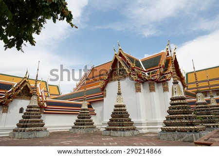 Temple of the Reclining Buddha or wat pho, Bangkok, Thailand. - stock photo