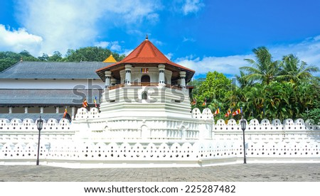 Temple Of The Sacred Tooth Relic, That Is Located In The Royal Palace Complex Of The Former Kingdom Of Kandy Sri Lanka, Which Houses The Relic Of The Tooth Of Buddha - stock photo